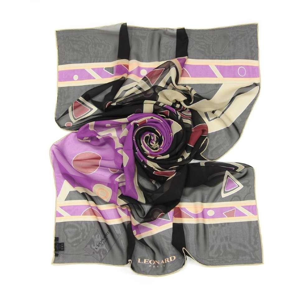 Яркий женский шёлковый палантин Leonard 28112