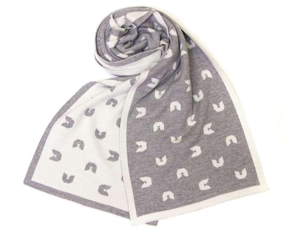 Спортивный зимний шарф серо-белый Gian Franco Ferre 13952