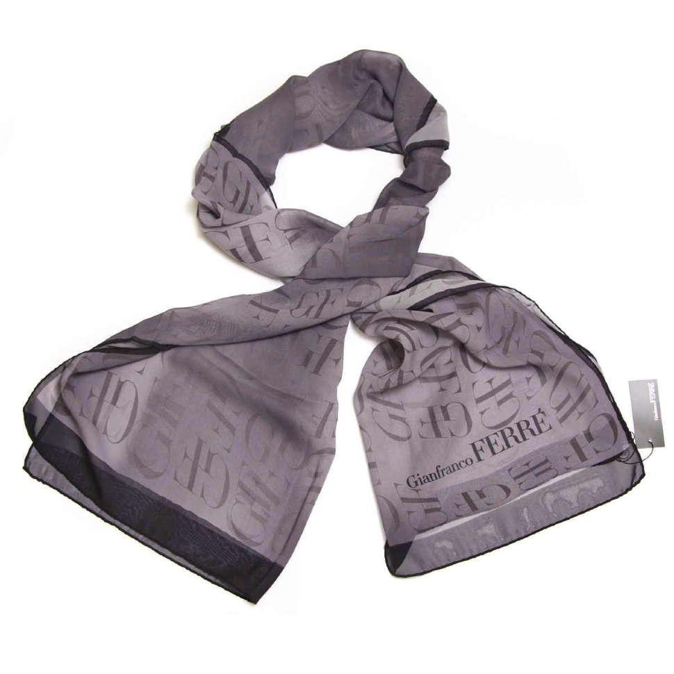 Черно-серый палантин с лого GianFranco Ferre 10486
