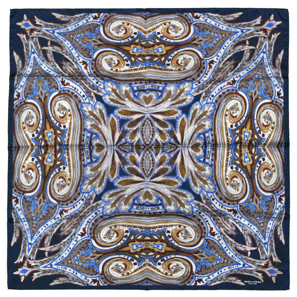 Стильный темный платок со сложным дизайном Mila Schon 833935