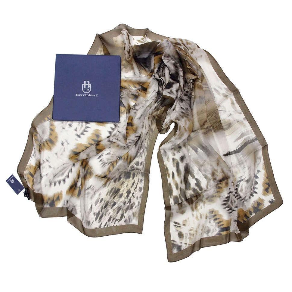 Палантин из шелка с брендированным принтом Barbieri 822640