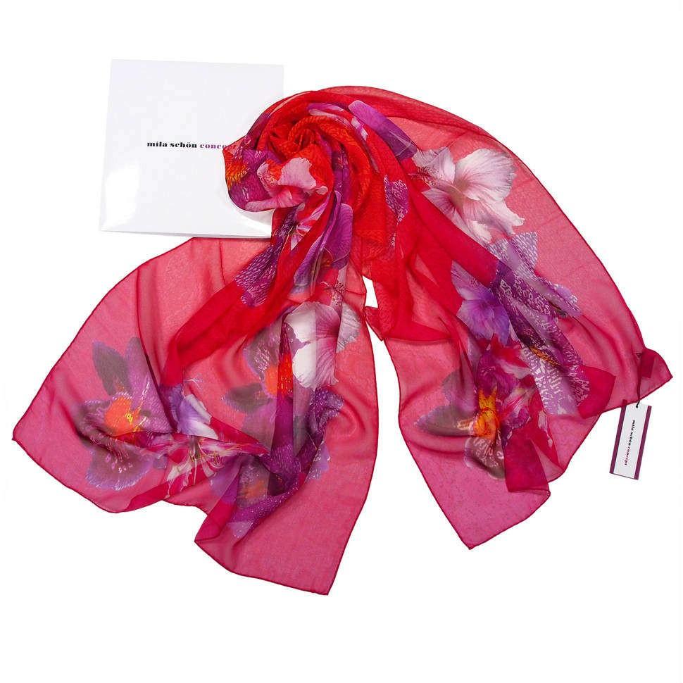 Алый женский палантин с цветами Mila Schon 821786