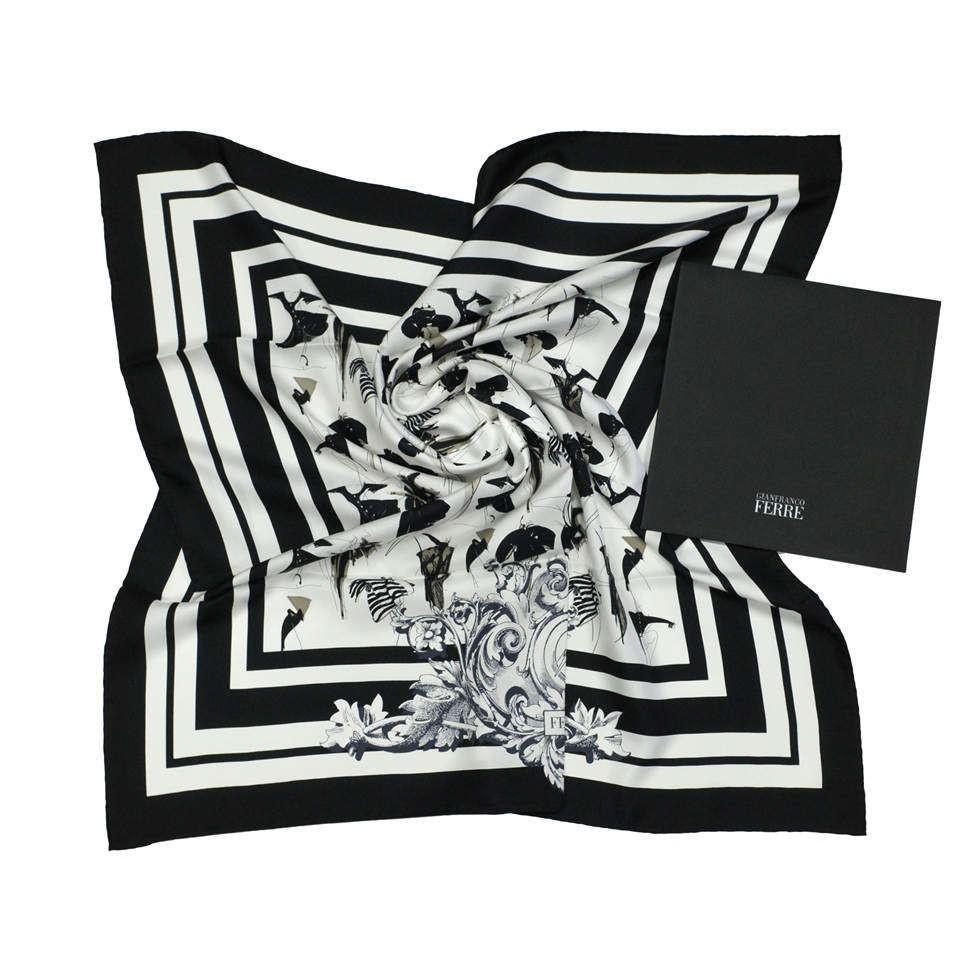 Черно-белый стильный женский платок Gianfranco Ferre 837938