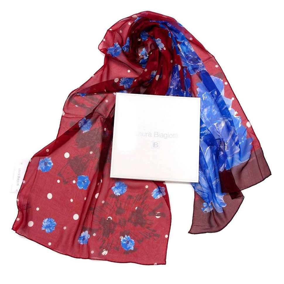 Шифоновый шарфик с ассиметрично расположенными синими цветами Laura Biagiotti 819711