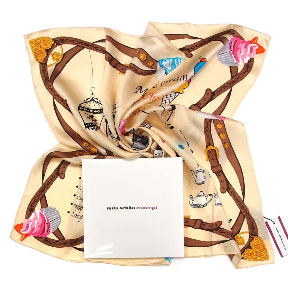 Стильный темно-бежевый фирменный платок Mila Schon 812863