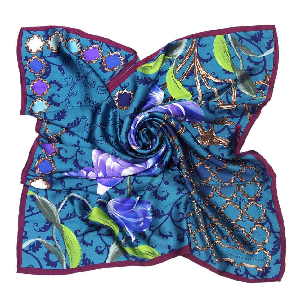 Красивый бирюзовый платок с цветами Mila Schon 812029