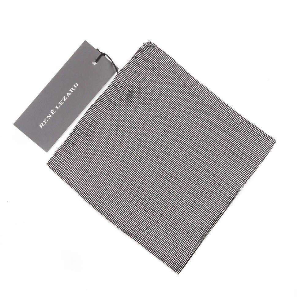 Шелковый платок в карман пиджака в мелкую клеточку Rene Lezard 66448