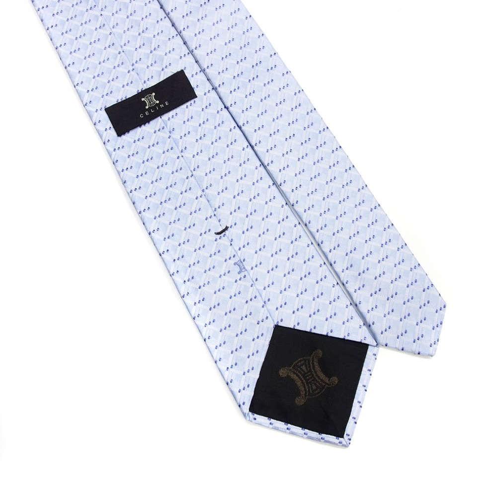 Голубой мужской галстук в клеточку Celine 810308